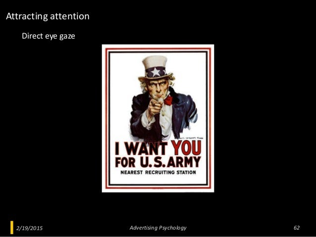 2/19/2015 Advertising Psychology 62 Direct eye gaze Attracting attention