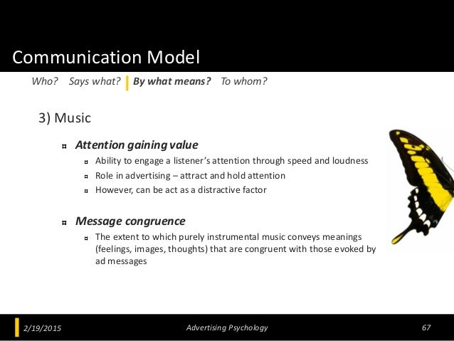 Communication Model 3) Music Attention gaining value Ability to engage a listener's attention through speed and loudness R...