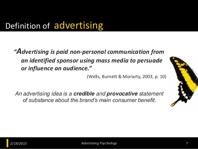 """Definition of advertising """"Advertising is paid non-personal communication from an identified sponsor using mass media to p..."""