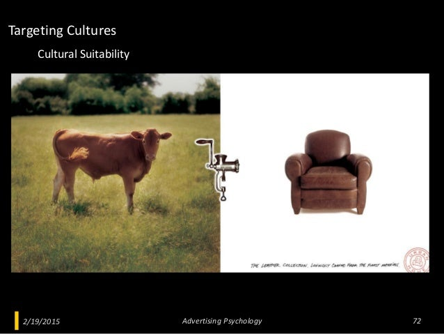 2/19/2015 Advertising Psychology 72 Cultural Suitability Targeting Cultures