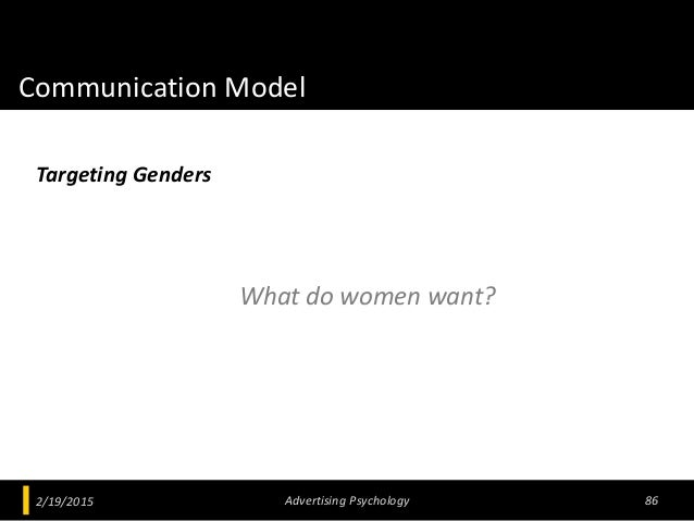 Communication Model What do women want? 2/19/2015 Advertising Psychology 86 Targeting Genders