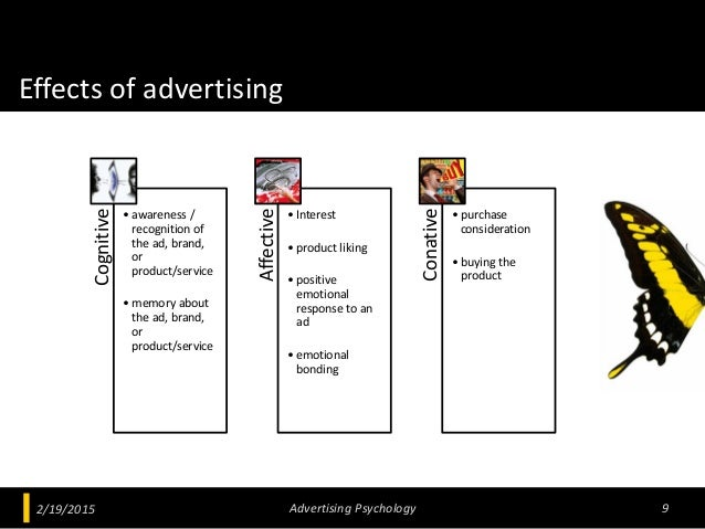 Effects of advertising 2/19/2015 Advertising Psychology 9 Cognitive • awareness / recognition of the ad, brand, or product...