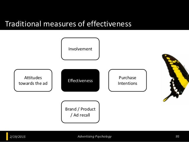 Traditional measures of effectiveness 2/19/2015 Advertising Psychology 95 Effectiveness Attitudes towards the ad Brand / P...