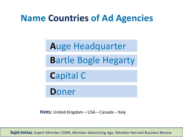 Doner Capital C Bartle Bogle Hegarty Auge Headquarter Name Countries of Ad Agencies Hints: United Kingdom – USA – Canada –...