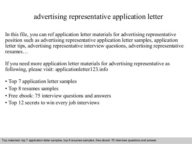advertising representative application letter  In this file, you can ref application letter materials for advertising repr...