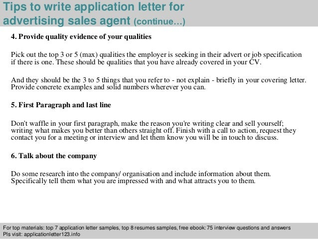 4 tips to write application letter for advertising sales agent advertising sales agent cover letter