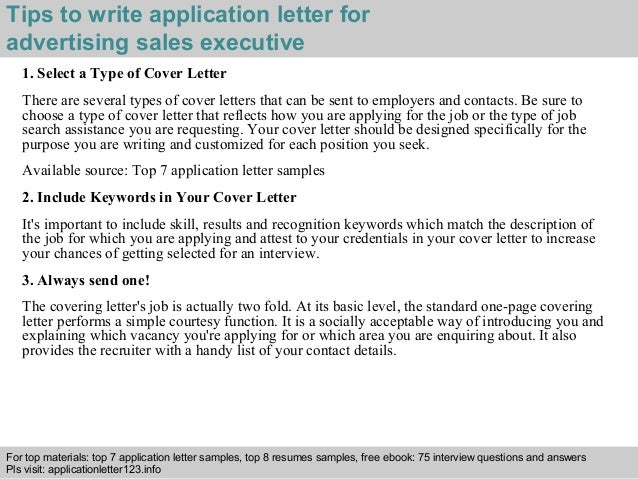 advertising sales executive application letter