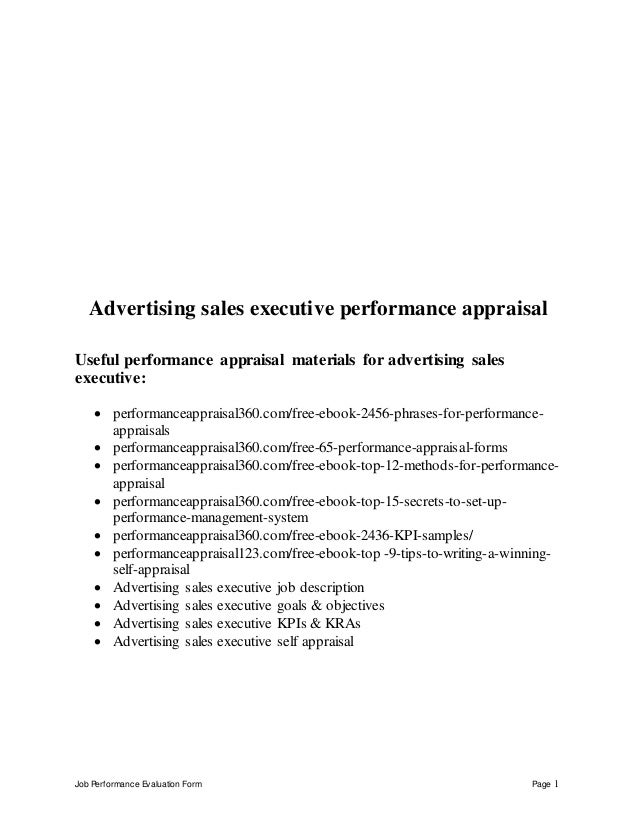 Job Performance Evaluation Form Page 1 Advertising sales executive performance appraisal Useful performance appraisal mate...