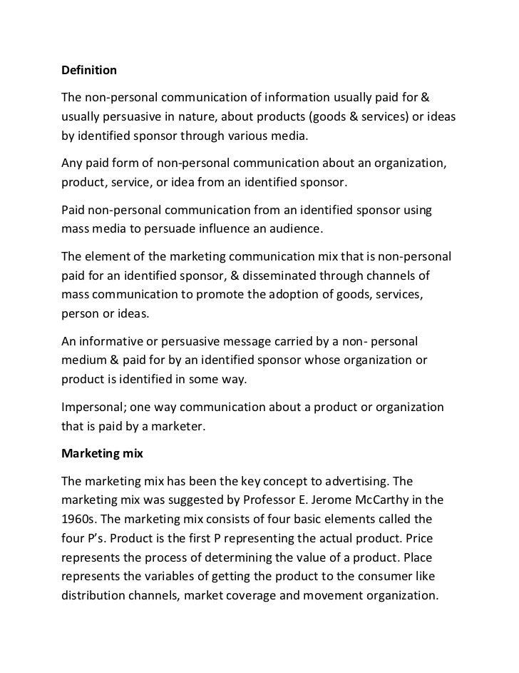Advertising summary