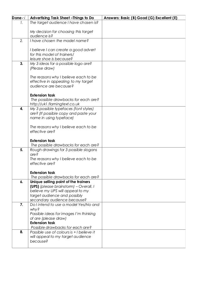advertising task sheet things to do