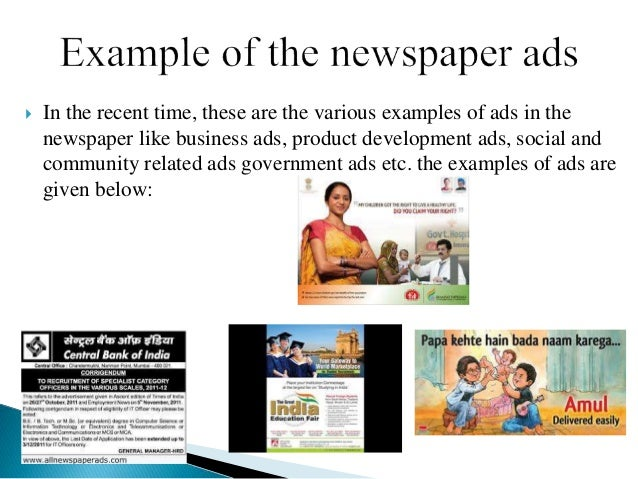 Advertising through newspaper