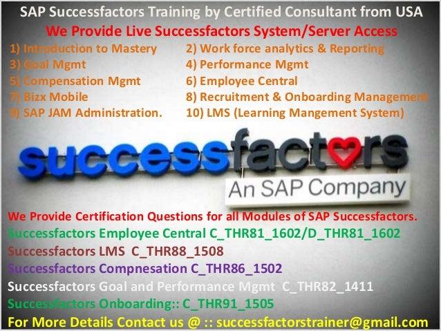 We offer SAP Successfactors Online Training