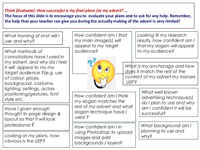Think (Evaluate)- How successful is my final plans for my advert? … The focus of this slide is to encourage you to evaluat...