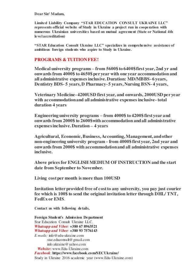 Study in ukraine universities with edu ukraine dear sir madam limited liability company star education consult ukraine llc represents stopboris Choice Image