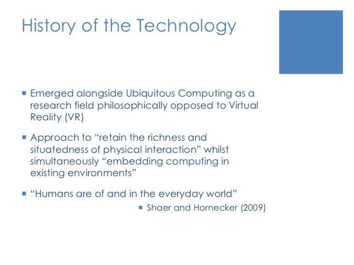 History of the Technology<br />Emerged alongside Ubiquitous Computing as a research field philosophically opposed to Virtu...