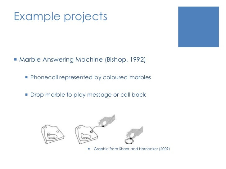 Example projects<br />Marble Answering Machine (Bishop, 1992)<br />Phonecall represented by coloured marbles<br />Drop mar...