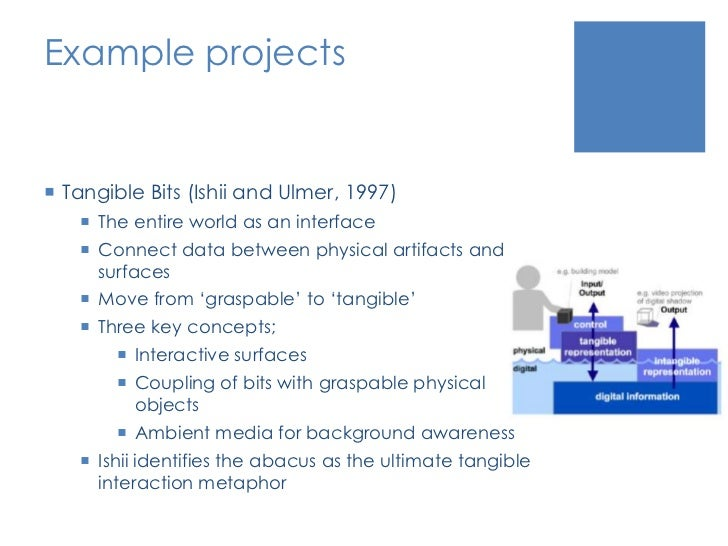 Example projects<br />Tangible Bits (Ishii and Ulmer, 1997)<br />The entire world as an interface<br />Connect data betwee...