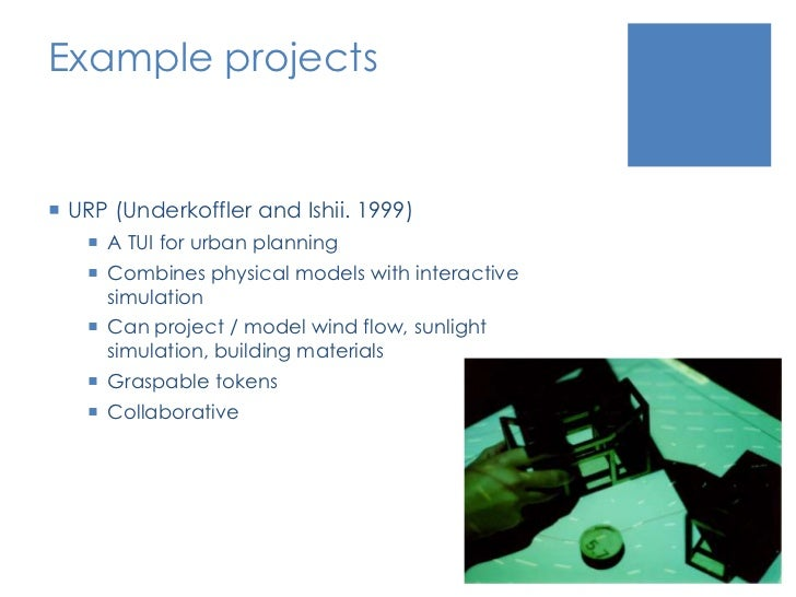 Example projects<br />URP (Underkoffler and Ishii. 1999)<br />A TUI for urban planning<br />Combines physical models with ...