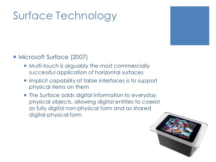 Surface Technology<br />Microsoft Surface (2007)<br />Multi-touch is arguably the most commercially successful application...