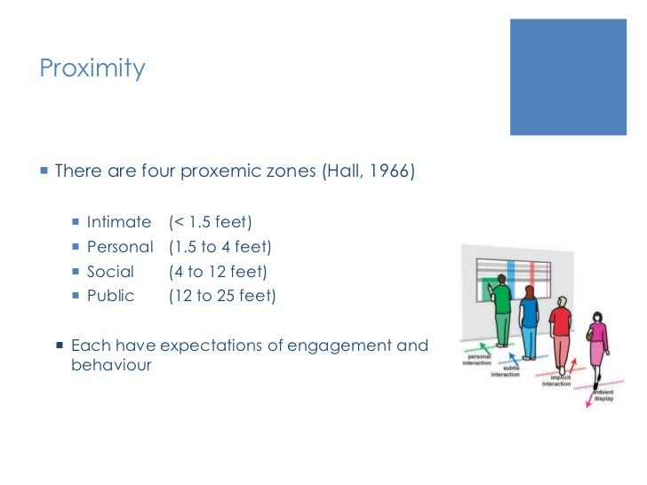 Proximity<br />There are four proxemic zones (Hall, 1966)<br />Intimate (< 1.5 feet)<br />Personal(1.5 to 4 feet)<br />S...