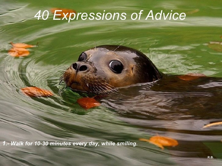 R.B. 40 Expressions of Advice 1 .- Walk for 10-30 minutes every day, while smiling.