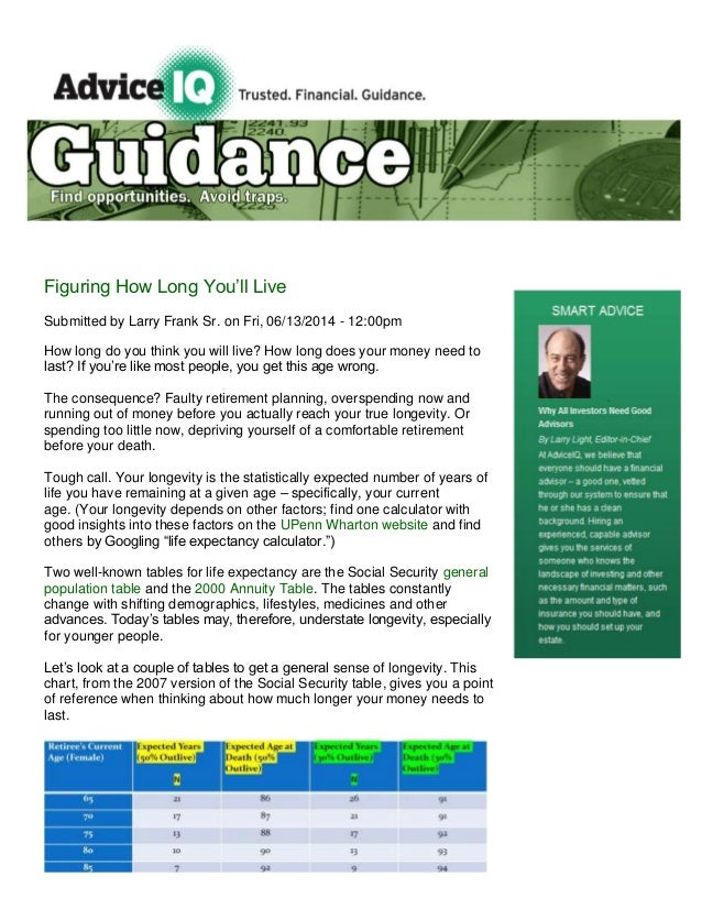 Figuring How Long You'll Live Submitted by Larry Frank Sr. on Fri, 06/13/2014 - 12:00pm How long do you think you will liv...