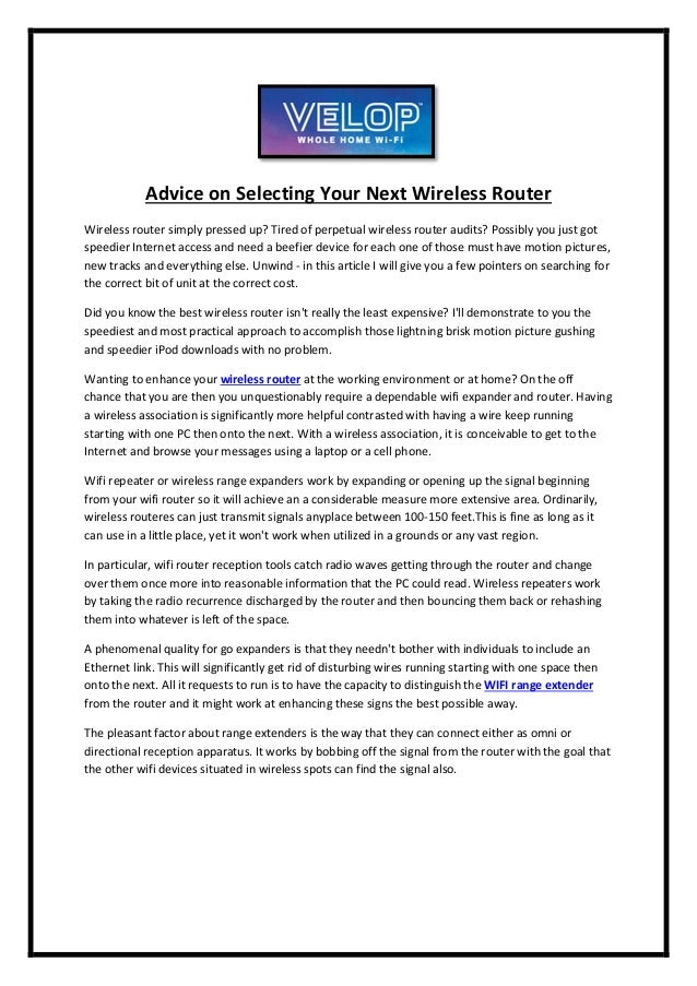 Advice on selecting your next wireless router