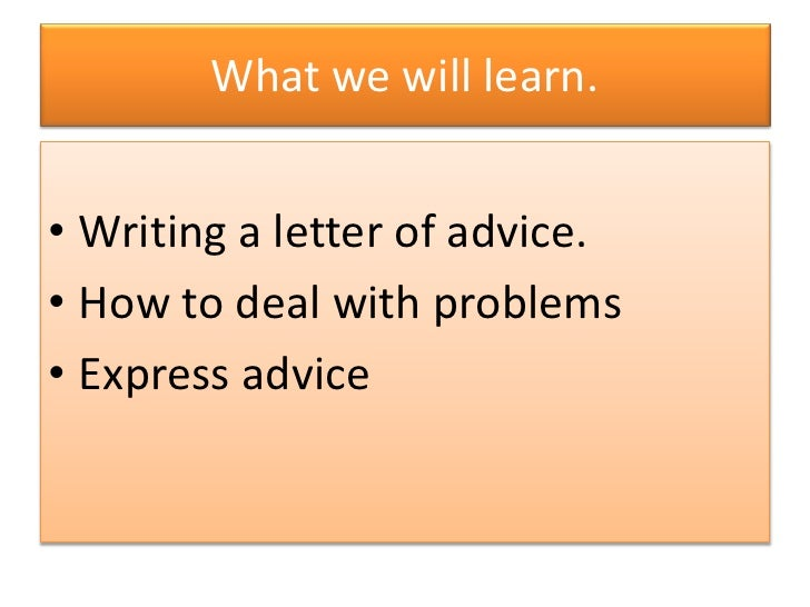 how to write a letter to advise someone