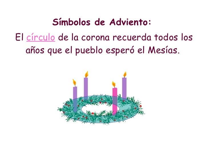 <ul><li>Símbolos de Adviento:  </li></ul><ul><li>El  círculo  de la corona recuerda todos los años que el pueblo esperó el...