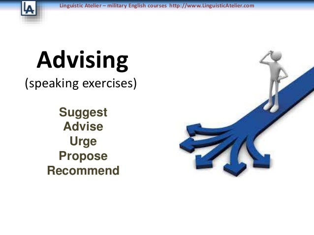 Linguistic Atelier – military English courses http://www.LinguisticAtelier.com Advising (speaking exercises) Suggest Advis...