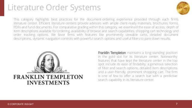 Literature Order Systems 7 This category highlights best practices for the document-ordering experience provided through e...