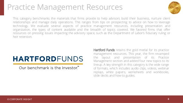 Practice Management Resources 8 This category benchmarks the materials that firms provide to help advisors build their bus...