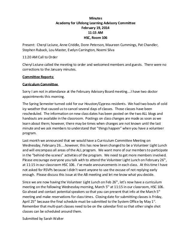 Minutes Academy for Lifelong Learning Advisory Committee February 19, 2014 11:15 AM HSC, Room 106 Present: Cheryl LeJune, ...