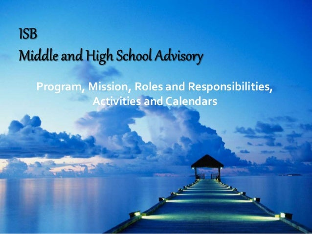 Program, Mission, Roles and Responsibilities, Activities and Calendars