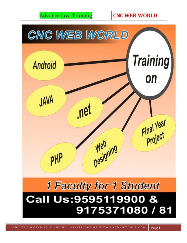 Advance Java Training CNC WEB WORLD C N C W E B W O R L D H E L P L I N E N O . 9 5 9 5 1 1 9 9 0 0 O R W W W . C N C W E ...