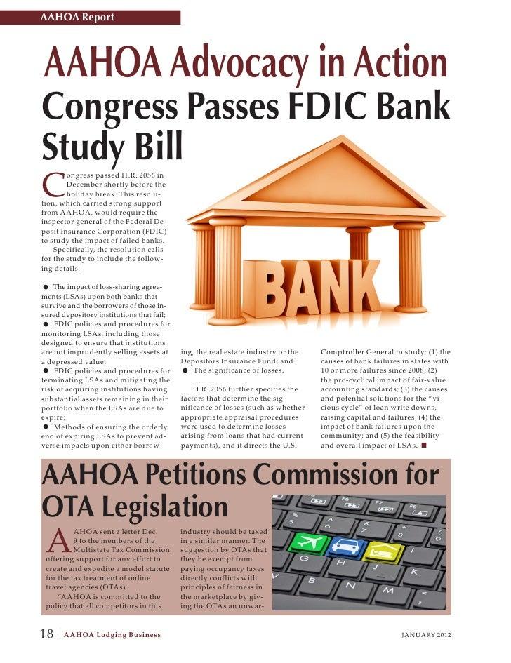 AAHOA ReportAAHOA Advocacy in ActionCongress Passes FDIC BankStudy BillC        ongress passed H.R. 2056 in        Decembe...