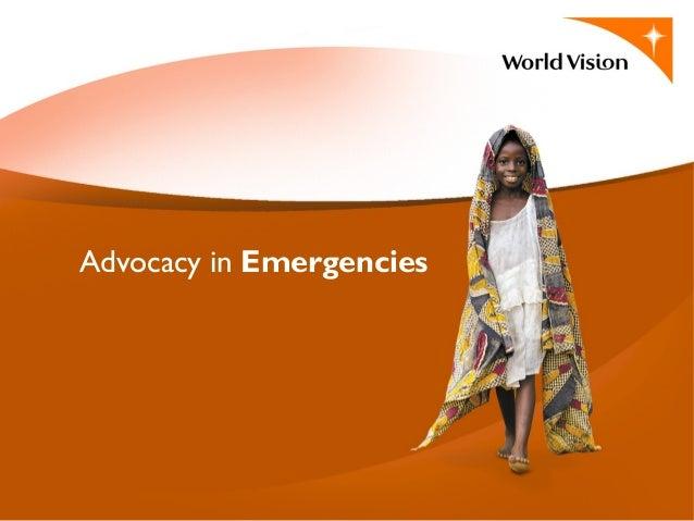 Advocacy in Emergencies