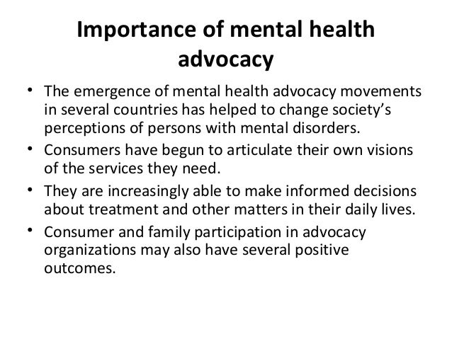 Advocacy – Mental Health Issues