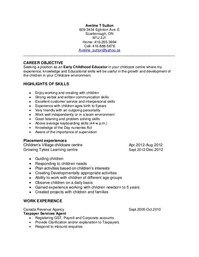 High School Student Resume Sample Child Care