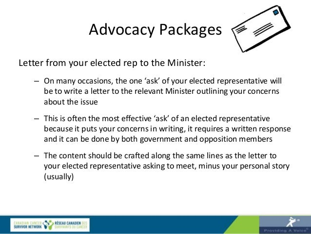 advocacy packages letter