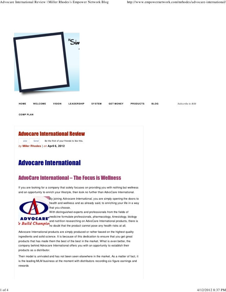Advocare International Review | Miller Rhodess Empower Network Blog                                 http://www.empowernetw...