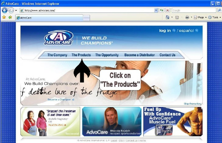 Advocare Product Page Instructions