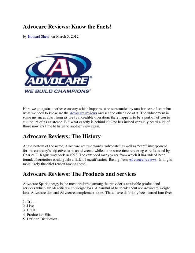Advocare Reviews: Know the Facts!by Howard Shen   on March 5, 2012Here we go again, another company which happens to be su...