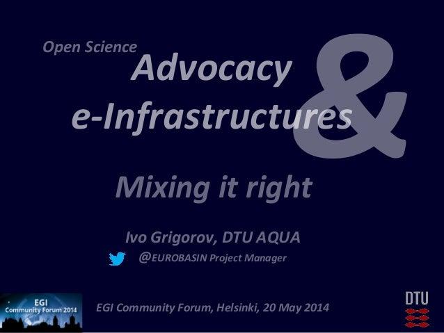 Advocacy     e-‐Infrastructures         Ivo  Grigorov,  DTU  AQUA   @EUROBASIN  Project  Manager  ...