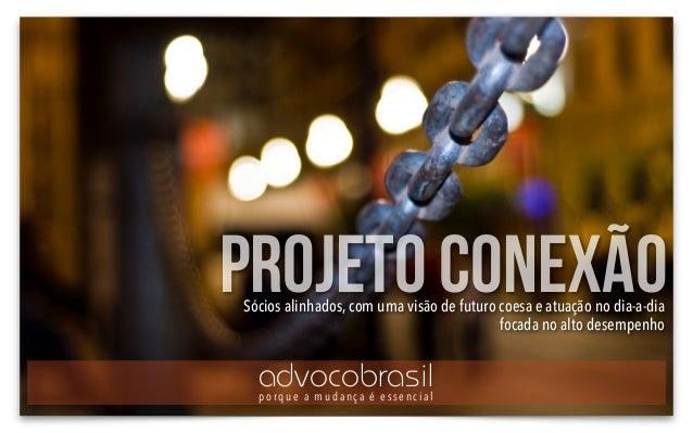 projeto conexãoSócios alinhados, com uma visão de futuro coesa e atuação no dia-a-dia focada no alto desempenho advocobras...