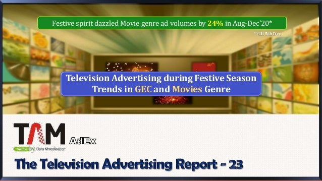 Television Advertising during Festive Season Trends in GEC and Movies Genre * till 5th Dec Festive spirit dazzled Movie ge...