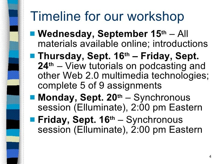 Timeline for our workshop <ul><li>Wednesday, September 15 th  – All materials available online; introductions </li></ul><u...
