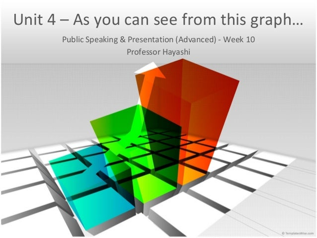 Unit 4 – As you can see from this graph… Public Speaking & Presentation (Advanced) - Week 10 Professor Hayashi