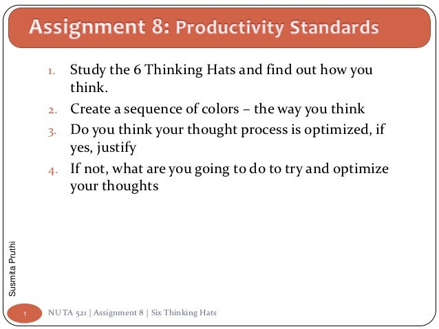 1. Study the 6 Thinking Hats and find out how you                        think.                     2. Create a sequence o...
