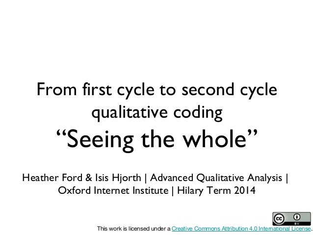 "From first cycle to second cycle qualitative coding  ""Seeing the whole"" Heather Ford & Isis Hjorth 